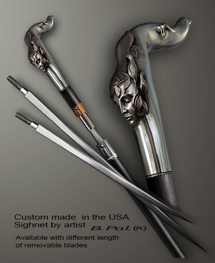 Custom made walking stick Echo in sword cane version. Some regional laws prohibit the use of sword canes. That is why these sword canes are designed with removable blades. This way you can keep it as a word cane in your collection or use it as a regular support walking cane. The sword canes handle is cast from sterling silver and can be finished with 24K gold trim.
