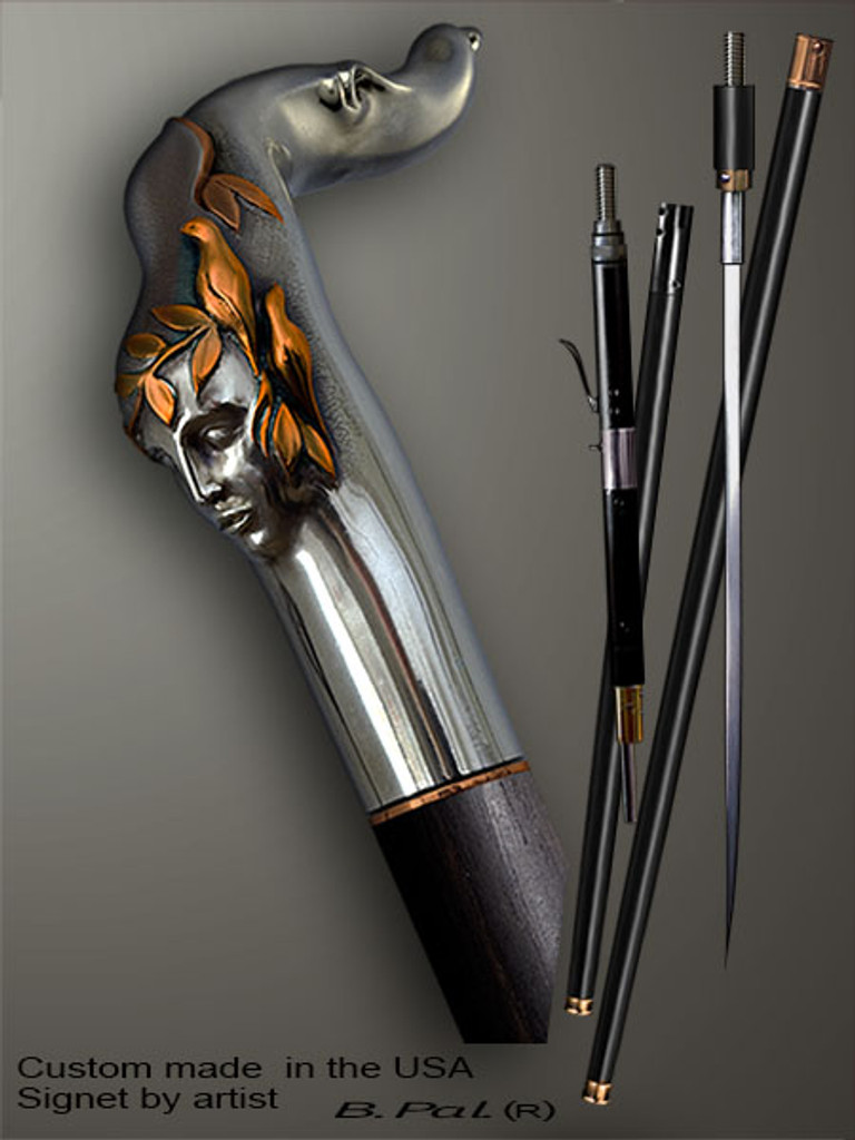 Handmade walking cane Echo is created and produced in the USA. Functional and decorative walking sticks handle is cast from sterling silver and mounted on the ebony shaft. Custom version can be finished with 24K Gold trim. Somebody using a walking stick might want not only physical support, but also some level of collectible or self-defense value. That is why a support walking canes can be done as a sword cane or cane gun. In this case high quality knife or air gun shooting mechanism will be built into the shaft as shown on the picture.