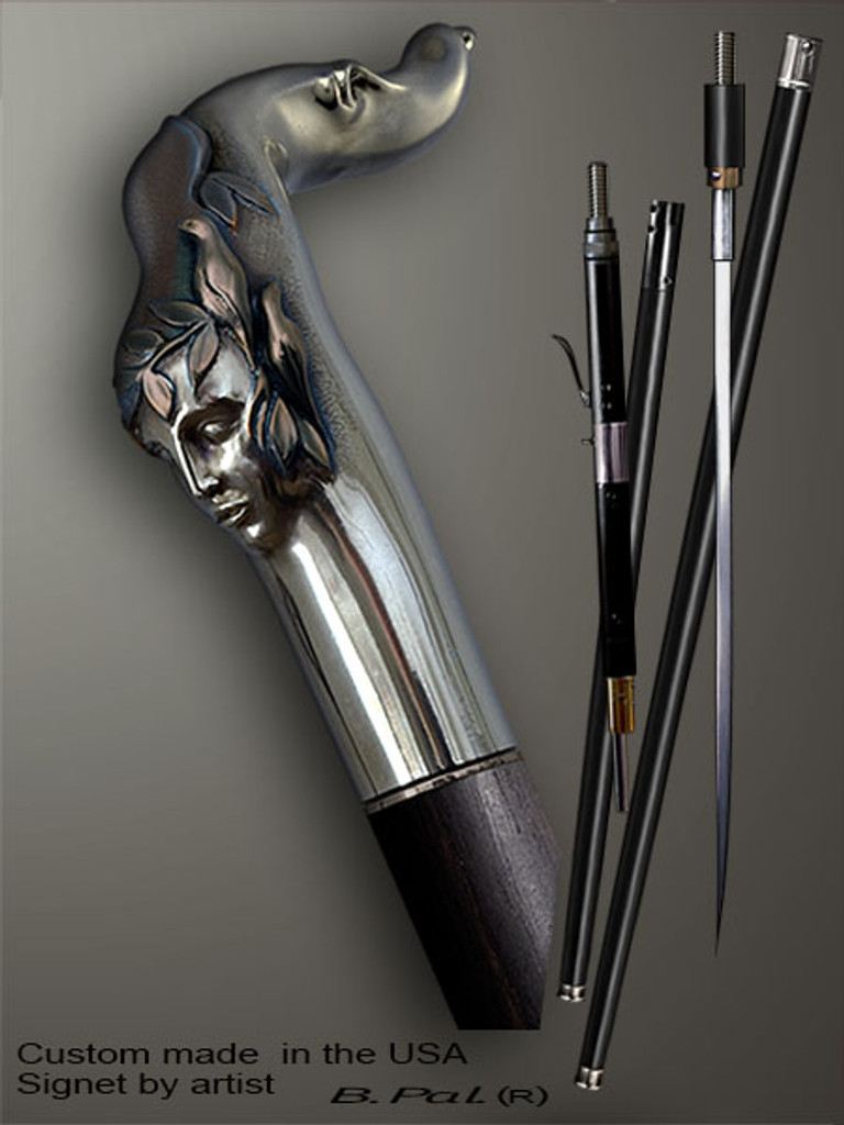 Functional and decorative walking cane Echo is created and produced in the USA. Artistic walking sticks handle is cast from sterling silver and mounted on the ebony or rosewood shaft. Custom version can be finished with 24K Gold trim. Somebody using a walking stick might want not only physical support, but also some level of collectible or self-defense value. That is why a support walking canes can be done as a sword cane or cane gun. In this case high quality knife or air gun shooting mechanism will be built into the shaft as shown on the picture.
