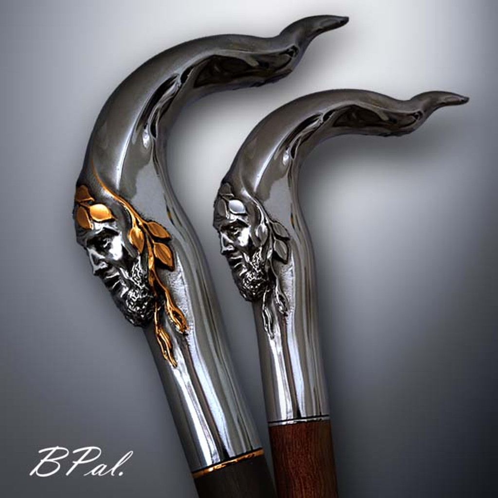 Collectible walking cane Pan design is created and produced in the USA.  Handmade walking canes handles are cast from Sterling silver and mounted on an exotic wood shaft. The luxury walking canes version will be completed with 24K Gold plating trim and natural gems by customer request.  Somebody using a walking stick might want not only physical support, but also some level of decorative and aesthetic value. Nevertheless, while considering the aesthetics of the walking cane it is important to remember that the comfort, physical stability and security of the walking canes should also be given priority. Functional support walking canes can be requested as a beautiful anniversary gift.