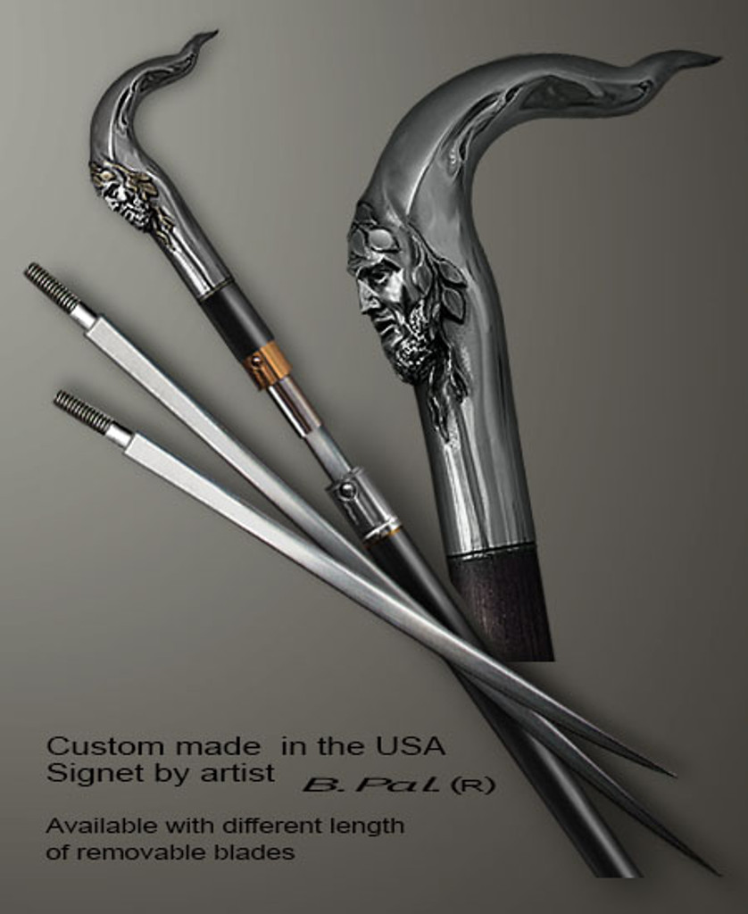 Custom made walking stick Pan in sword cane version. Some regional laws prohibit the use of sword canes. That is why these sword canes are designed with removable blades. A sword canes tight opening telescopic mechanism provides the ability to load the cane as a regular support walking cane with or without the blade installed. The sword canes handle is cast from sterling silver and can be finished with 24K gold trim.