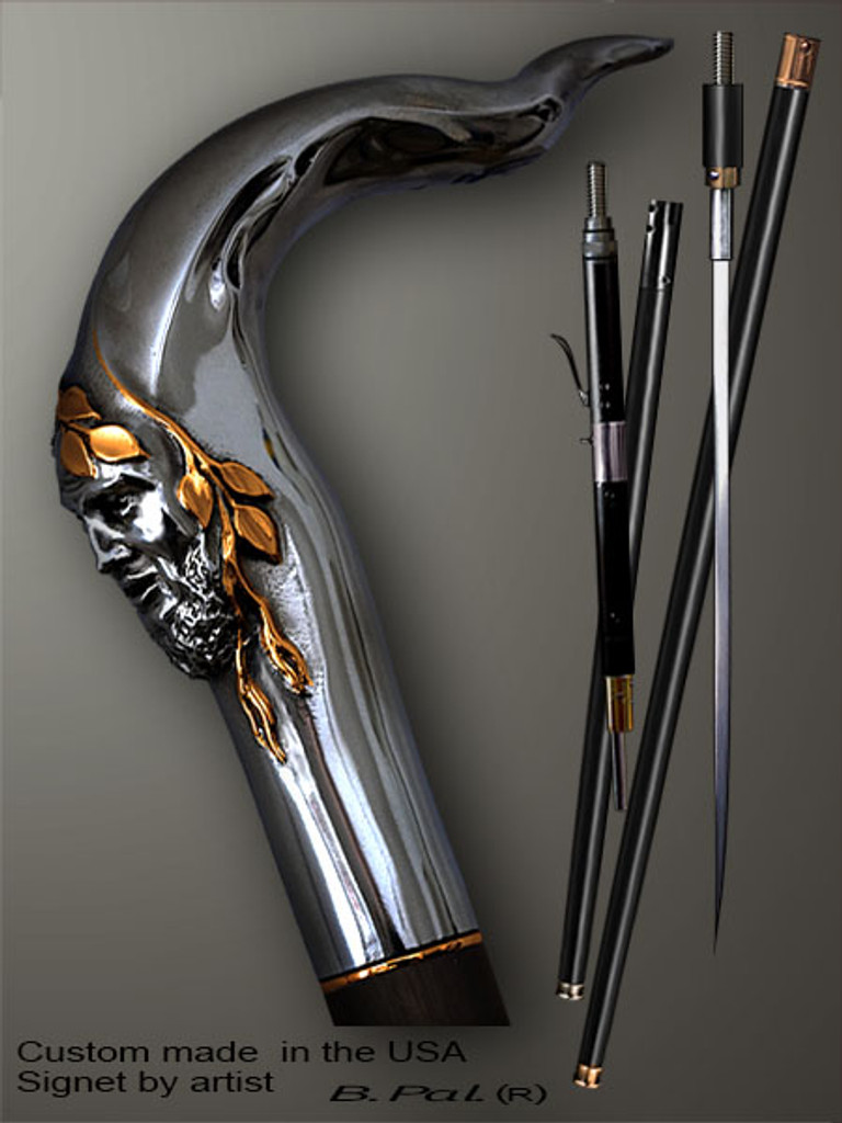 Unique walking cane Pan is created and produced in the USA. Luxury walking sticks handle is cast from sterling silver and mounted on the ebony shaft. Custom version can be finished with 24K Gold trim. Somebody using a walking stick might want not only physical support, but also some level of collectible or self-defense value. That is why a support walking canes can be done as a sword cane or cane gun. In this case high quality knife or air gun shooting mechanism will be built into the shaft as shown on the picture.