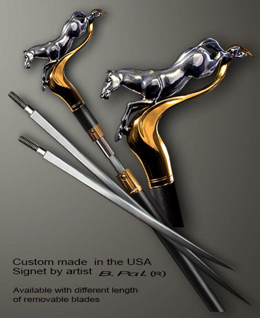 """Sterling silver with gold trim custom made walking stick Horse in sword cane version. Some regional laws prohibit the use of sword canes. That is why these sword canes are designed with removable blades. This way you can keep it as a sword cane in your collection or use it as a regular support walking cane. The sword cane can be completed with 12"""" or 16"""" blade by customer request."""