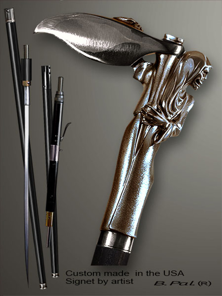 Custom walking cane Grim reaper is created and produced in the USA. Somebody using a walking stick might want not only physical support, but also some level of collectible or self-defense value. That is why a support walking canes can be done as a sword cane or cane gun. In this case high quality knife or air gun shooting mechanism will be built into the shaft as shown on the picture. Handmade walking sticks handle is cast from sterling silver or bronze and mounted on the ebony shaft.