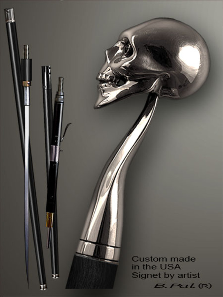 Functional and decorative walking cane Skull is created and produced in the USA. Exclusive walking sticks handle is cast from sterling silver and mounted on the ebony or rosewood shaft. Custom version can be finished with natural gems. Somebody using a walking stick might want not only physical support, but also some level of collectible or self-defense value. That is why a support walking canes can be done as a sword cane or cane gun. In this case high quality knife or air gun shooting mechanism will be built into the shaft as shown on the picture.