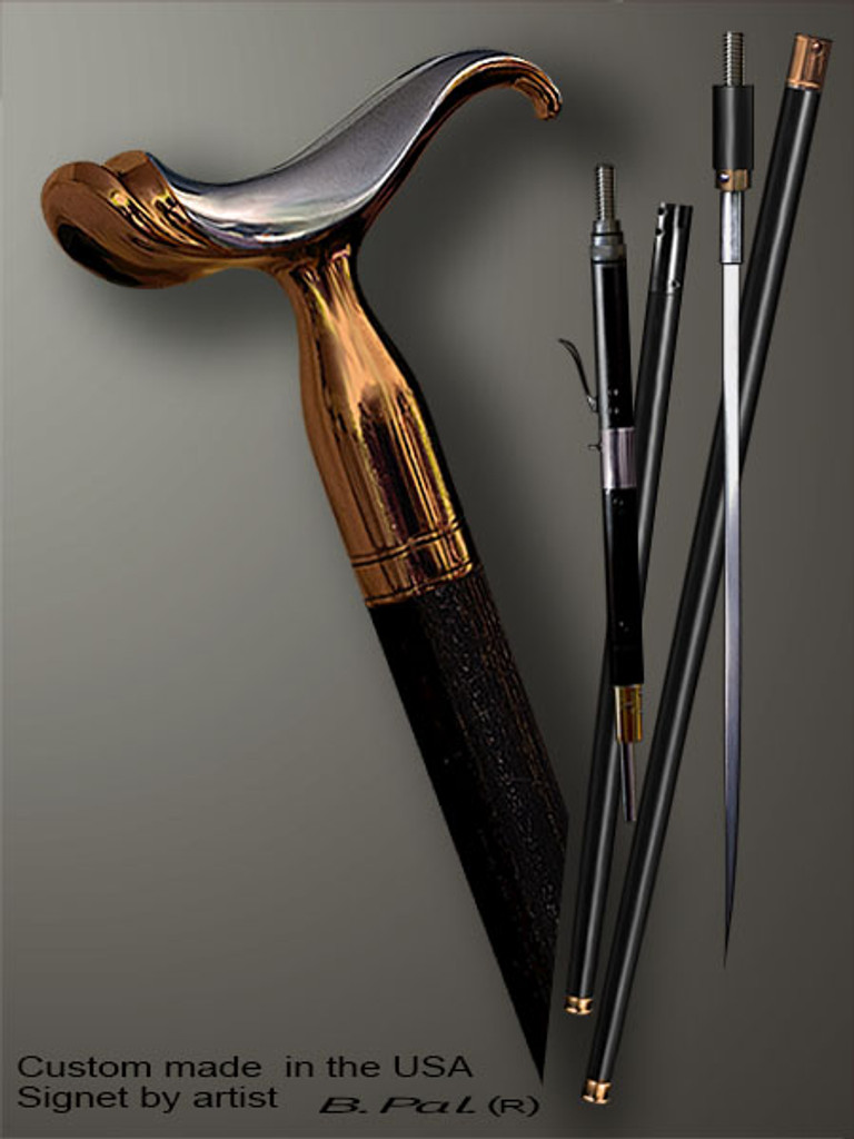 Custom walking cane Saddle is created and produced in the USA. Artistic walking sticks handle is cast from sterling silver and mounted on the ebony shaft. Custom version can be finished with 24K Gold trim. Somebody using a walking stick might want not only physical support, but also some level of collectible or self-defense value. That is why a support walking canes can be done as a sword cane or cane gun. In this case high quality knife or air gun shooting mechanism will be built into the shaft as shown on the picture.