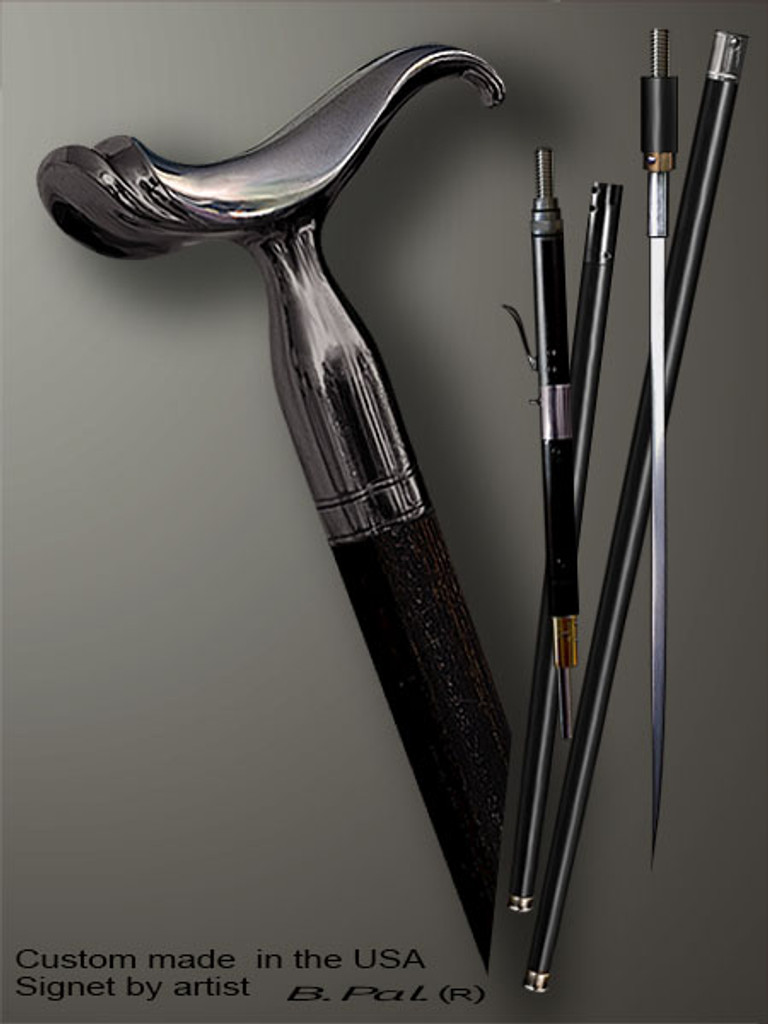 Walking cane Saddle is created and produced in the USA. Handmade walking sticks handle is cast from sterling silver and mounted on the ebony or rosewood shaft. Custom version can be finished with 24K Gold trim. Somebody using a walking stick might want not only physical support, but also some level of collectible or self-defense value. That is why a support walking canes can be done as a sword cane or cane gun. In this case high quality knife or air gun shooting mechanism will be built into the shaft as shown on the picture.
