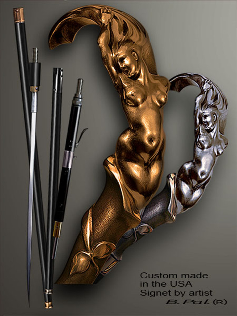 Custom walking cane Mermaid is created and produced in the USA. Somebody using a walking stick might want not only physical support, but also some level of collectible or self-defense value. That is why a support walking canes can be done as a sword cane or cane gun. In this case high quality knife or air gun shooting mechanism will be built into the shaft as shown on the picture. Handmade walking sticks handle is cast from sterling silver or bronze and mounted on the ebony or rosewood shaft. Custom version can be finished with 24K Gold trim.