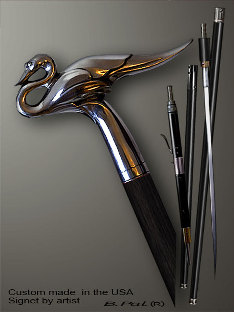 Collectible walking cane Swan is created and produced in the USA. Somebody using a walking stick might want not only physical support, but also some level of collectible or self-defense value. That is why a support walking canes can be done as a sword cane or cane gun. In this case high quality knife or air gun shooting mechanism will be built into the shaft as shown on the picture. Exclusive walking sticks handle is cast from sterling silver and mounted on the ebony or rosewood shaft.