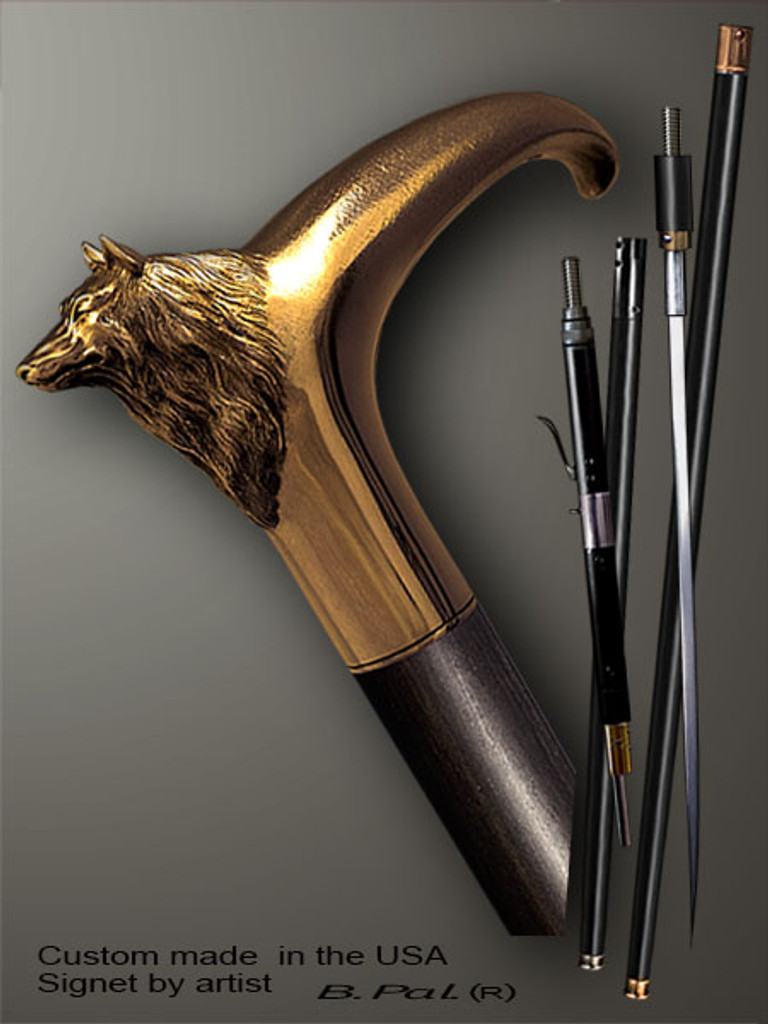 Designer walking cane Wolf is created and produced in the USA. Somebody using a walking stick might want not only physical support, but also some level of collectible or self-defense value. That is why a support walking canes can be done as a sword cane or cane gun. In this case high quality knife or air gun shooting mechanism will be built into the shaft as shown on the picture. Luxury walking sticks handle is cast from bronze and mounted on the ebony or rosewood shaft. Custom version can be finished with natural gems.
