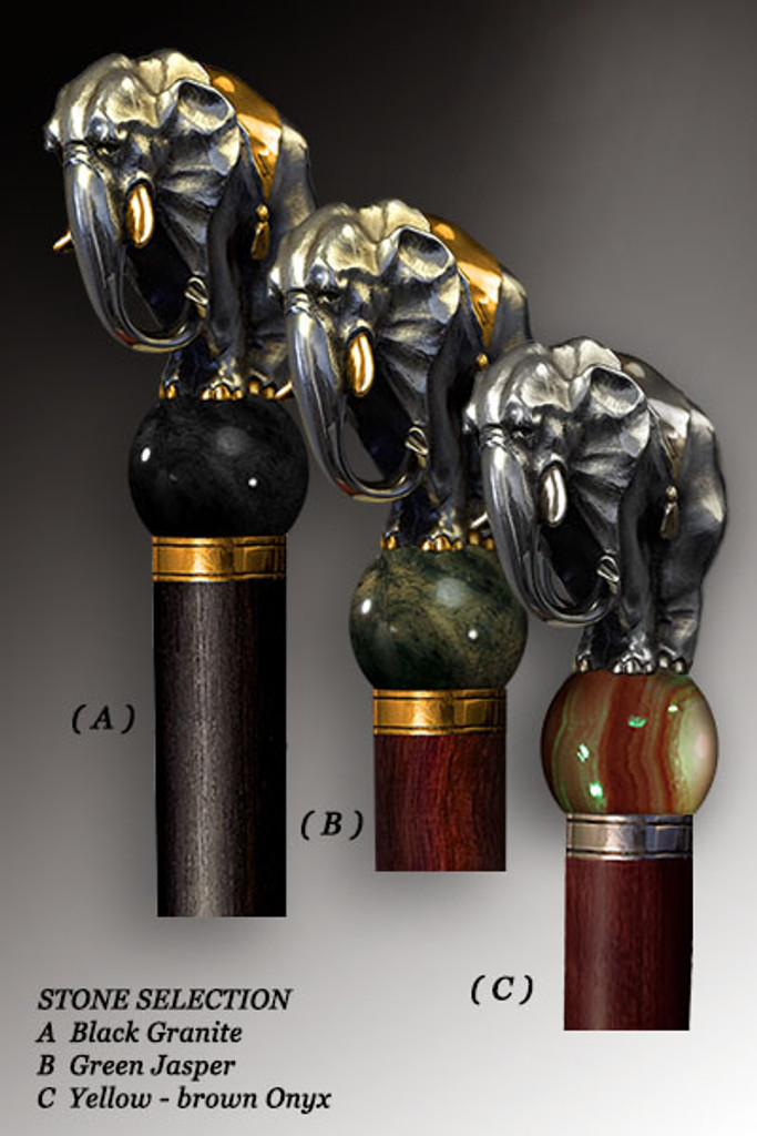 Handmade Walking Cane Elephant. Style #101