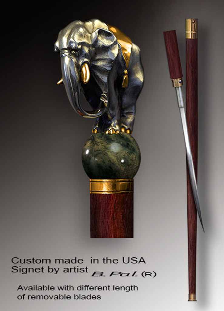 Handmade walking cane Elephant is created and produced in the USA. High end walking sticks handle is cast from sterling silver and mounted on the rosewood shaft. Custom version can be finished with 24K Gold trim and natural gems. Somebody using a walking stick might want not only physical support, but also some level of collectible or self-defense value. That is why a support walking canes can be done as a sword cane. In this case high quality knife will be built into the shaft as shown on the picture.