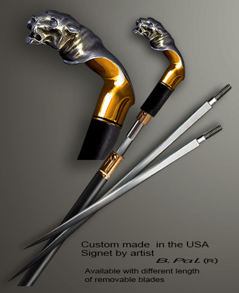 """Sterling silver with gold trim custom made walking stick Tiger in sword cane version. Some regional laws prohibit the use of sword canes. That is why these sword canes are designed with removable blades. A sword canes tight opening telescopic mechanism provides the ability to load the cane as a regular support walking cane with or without the blade installed. The sword cane can be completed with 12"""" or 16"""" blade by customer request."""