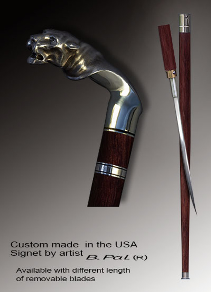 Artistic walking cane Tiger is created and produced in the USA. Handmade walking sticks handle is cast from sterling silver and mounted on the rosewood shaft. Custom version can be finished with 24K Gold trim and natural gems. Somebody using a walking stick might want not only physical support, but also some level of collectible or self-defense value. That is why a support walking canes can be done as a sword cane. In this case high quality knife will be built into the shaft as shown on the picture.