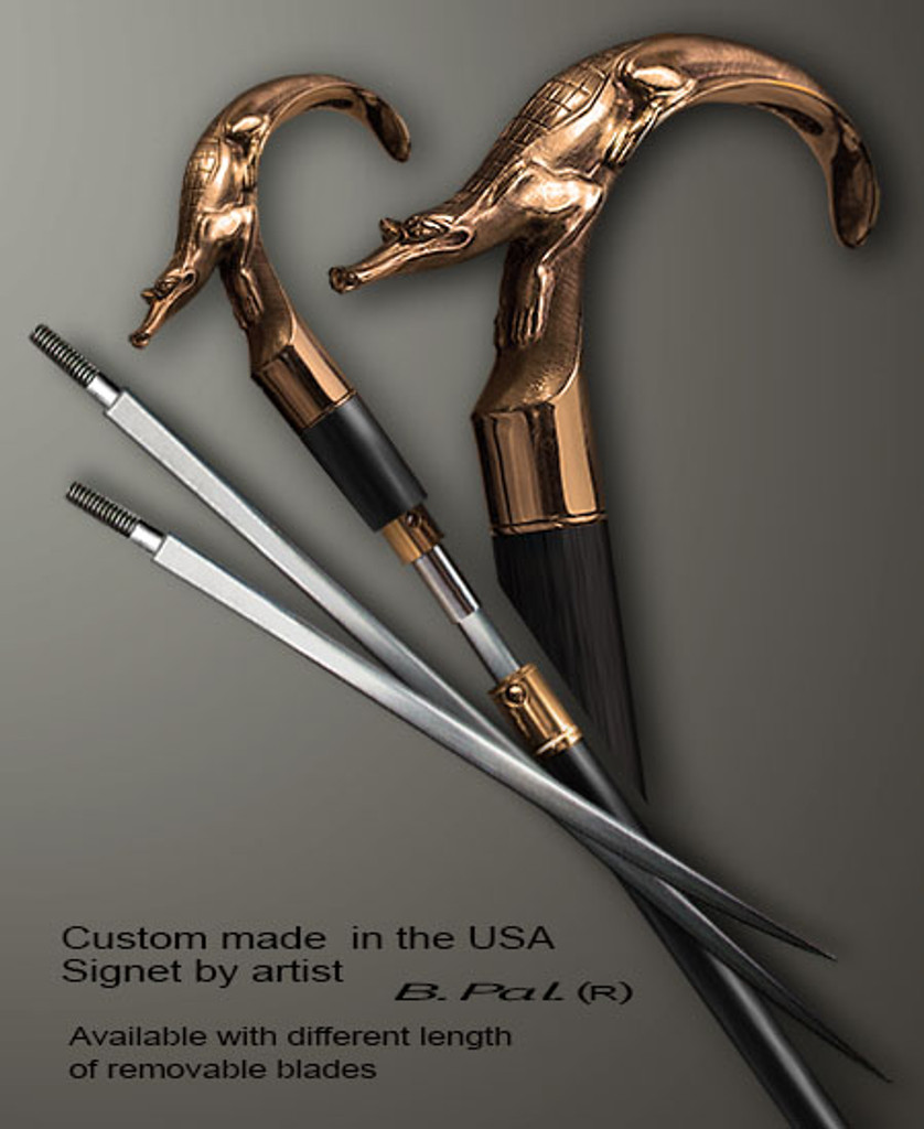 Bronze walking stick Alligator in sword cane version. Some regional laws prohibit the use of sword canes. That is why these sword canes are designed with removable blades. A sword canes tight opening telescopic mechanism provides the ability to load the cane as a regular support walking cane with or without the blade installed.