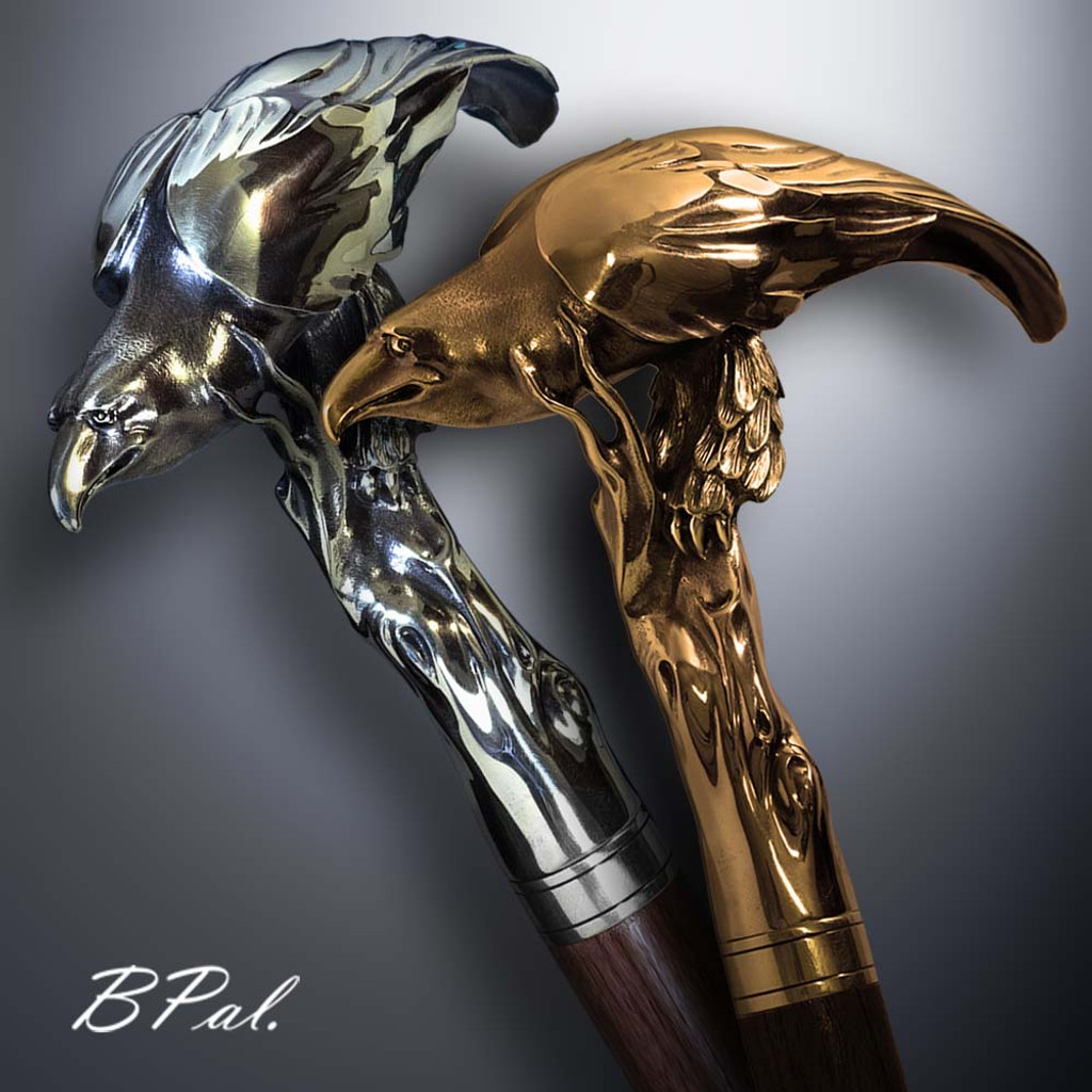 Handmade walking cane Eagle design is created and produced in the USA. Custom walking canes will be made individually and signed at your request. Functional and decorative walking sticks can be requested as a beautiful anniversary gift. Somebody using a walking canes might want not only physical support, but also some level of decorative and aesthetic value that is why for many centuries walking canes have captured the attention of artists and jewelers. Nevertheless, while considering the aesthetics of the walking cane it is important to remember that the comfort, physical stability and security of the walking sticks should also be given priority.