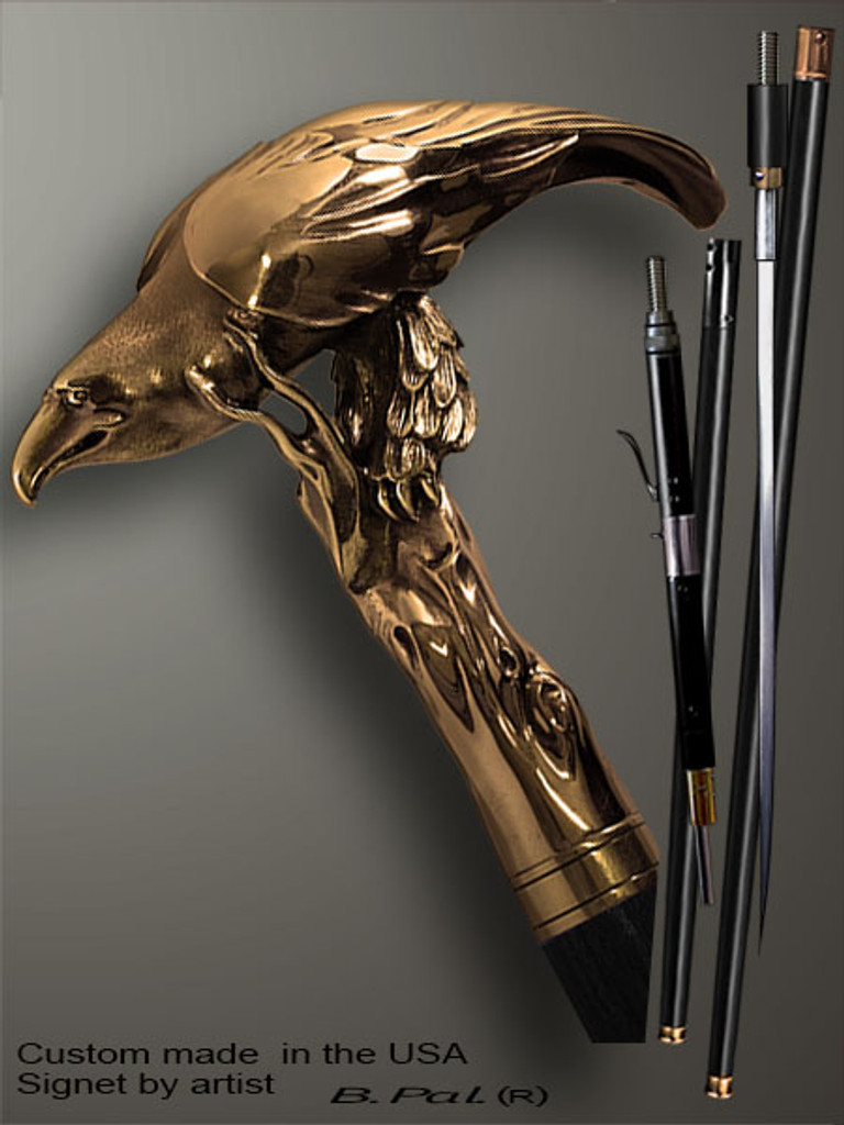 Handmade walking cane Eagle is created and produced in the USA. Custom made walking sticks handle is cast from bronze and mounted on the ebony or rosewood shaft. Custom version can be finished with natural gems. Somebody using a walking stick might want not only physical support, but also some level of collectible or self-defense value. That is why a support walking canes can be done as a sword cane or cane gun. In this case high quality knife or air gun shooting mechanism will be built into the shaft as shown on the picture.