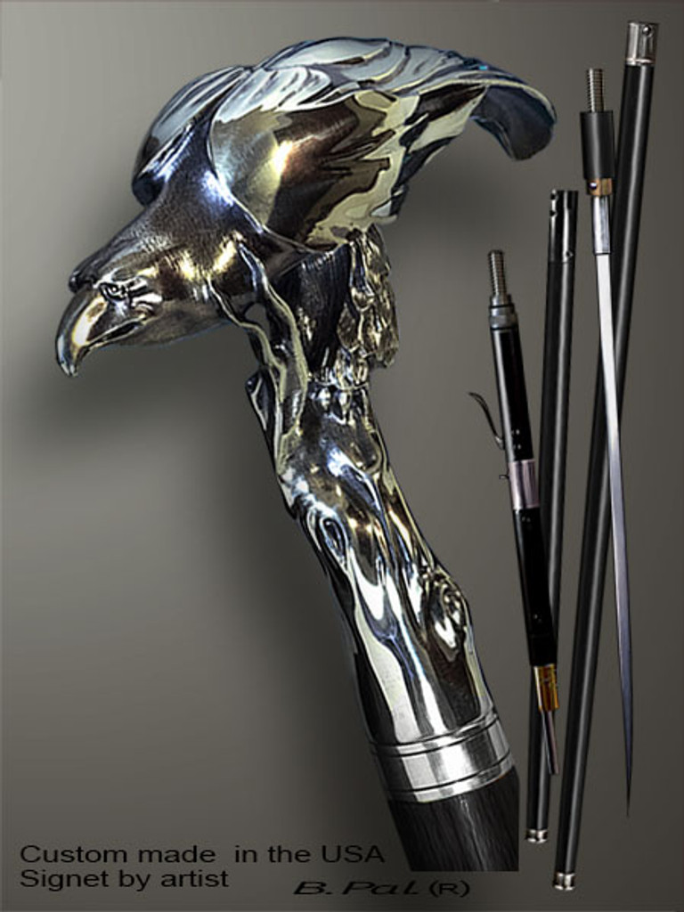 Artistic walking cane Lion is created and produced in the USA. Exclusive walking sticks handle is cast from sterling silver and mounted on the ebony or rosewood shaft. Custom version can be finished with natural gems. Somebody using a walking stick might want not only physical support, but also some level of collectible or self-defense value. That is why a support walking canes can be done as a sword cane or cane gun. In this case high quality knife or air gun shooting mechanism will be built into the shaft as shown on the picture.