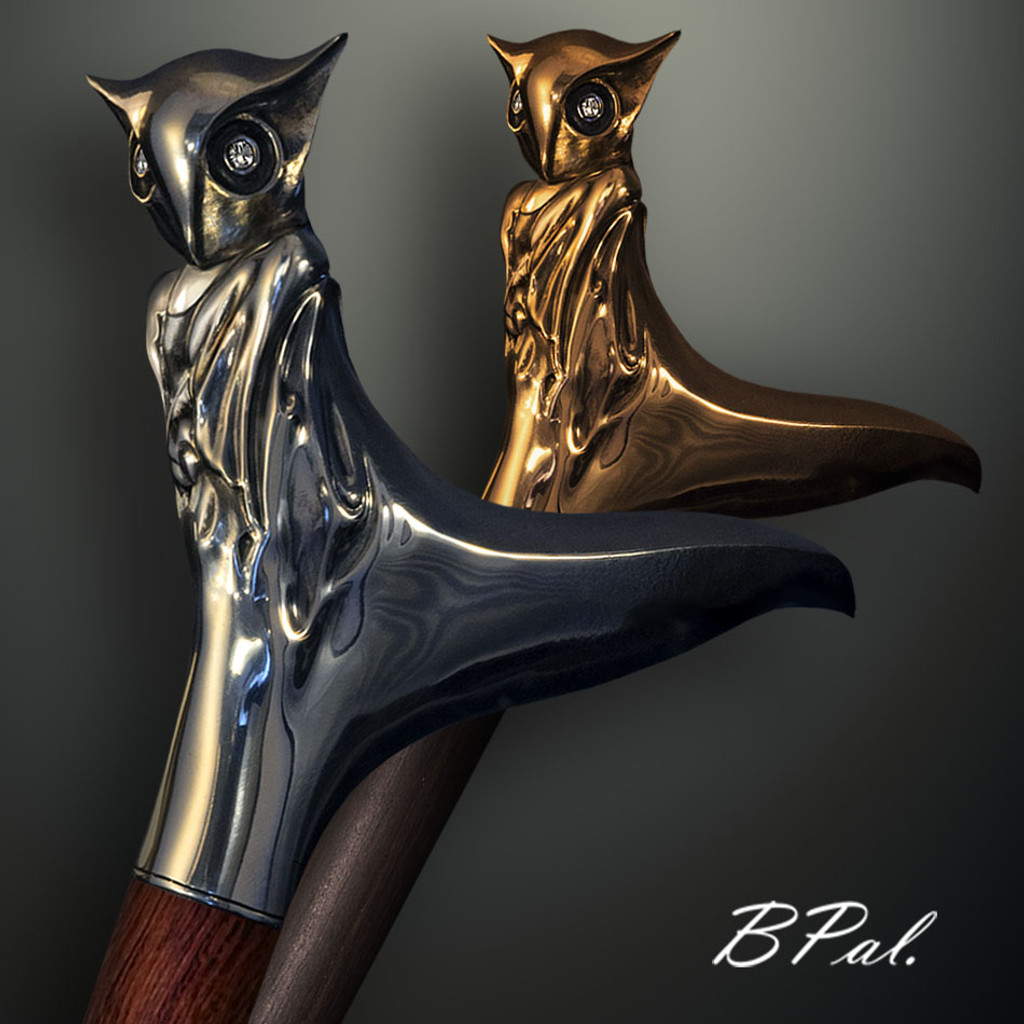 Luxury walking canes Night Owl design is created and produced in the USA. Custom walking canes will be made individually and signed at your request. Functional and decorative walking sticks can be requested as a beautiful anniversary gift. Somebody using a walking canes might want not only physical support, but also some level of decorative and aesthetic value that is why for many centuries walking canes have captured the attention of artists and jewelers. Nevertheless, while considering the aesthetics of the walking cane it is important to remember that the comfort, physical stability and security of the walking sticks should also be given priority.