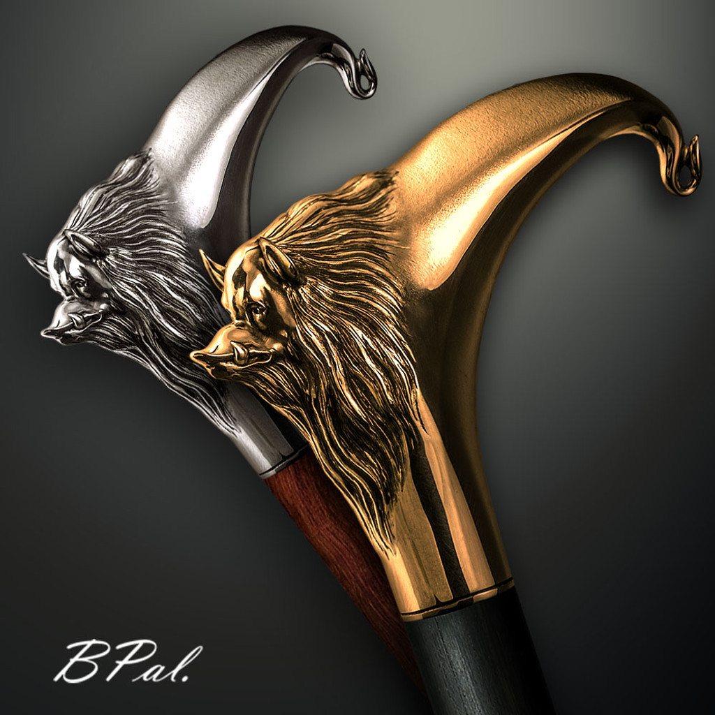 Custom walking cane Boar design is created and produced in the USA. Custom walking canes will be made individually and signed at your request. Functional and decorative walking sticks can be requested as a beautiful anniversary gift. Somebody using a walking canes might want not only physical support, but also some level of decorative and aesthetic value that is why for many centuries walking canes have captured the attention of artists and jewelers. Nevertheless, while considering the aesthetics of the walking cane it is important to remember that the comfort, physical stability and security of the walking sticks should also be given priority.