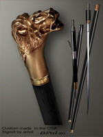 Designer walking cane Lion head is created and produced in the USA. Luxury walking sticks handle is cast from bronze and mounted on the ebony shaft. Custom version can be finished with natural gems. Somebody using a walking stick might want not only physical support, but also some level of collectible or self-defense value. That is why a regular walking canes can be done as a sword cane or cane gun. In this case high quality knife or air gun shooting mechanism will be built into the shaft as shown on the picture.
