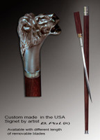 Walking cane Lion head is created and produced in the USA. Luxury walking sticks handle is cast from sterling silver and mounted on the rosewood shaft. Custom version can be finished with natural gems. Somebody using a walking stick might want not only physical support, but also some level of collectible or self-defense value. That is why a support walking canes can be done as a sword cane. In this case high quality knife will be built into the shaft as shown on the picture.