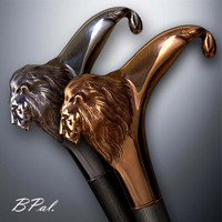 Handmade walking cane Lion design is created and produced in the USA. Custom walking canes will be made individually and signed at your request. Functional and decorative walking sticks can be requested as a beautiful anniversary gift. Somebody using a walking canes might want not only physical support, but also some level of decorative and aesthetic value that is why for many centuries walking canes have captured the attention of artists and jewelers. Nevertheless, while considering the aesthetics of the walking cane it is important to remember that the comfort, physical stability and security of the walking sticks should also be given priority.