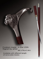 Custom Walking Cane Lion. Style # 119