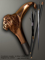 Walking cane Lion is created and produced in the USA. Handmade walking sticks handle is cast from bronze and mounted on the ebony or rosewood shaft. Custom version can be finished with natural gems. Somebody using a walking stick might want not only physical support, but also some level of collectible or self-defense value. That is why a support walking canes can be done as a sword cane or cane gun. In this case high quality knife or air gun shooting mechanism will be built into the shaft as shown on the picture.