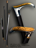 Functional and decorative walking cane Flying snake is created and produced in the USA. Luxury walking sticks handle is cast from sterling silver and Bronze inlay. The handle is mounted on the ebony or rosewood shaft. Somebody using a walking stick might want not only physical support, but also some level of collectible or self-defense value. That is why a support walking canes can be done as a sword cane or cane gun. In this case high quality knife or air gun shooting mechanism will be built into the shaft as shown on the picture.