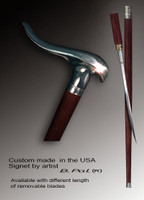Walking cane Snail is created and produced in the USA. Exclusive walking sticks handle is cast from bronze and mounted on the rosewood shaft.  Somebody using a walking stick might want not only physical support, but also some level of collectible or self-defense value. That is why a support walking canes can be done as a sword cane. In this case high quality knife will be built into the shaft as shown on the picture.