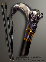 Custom walking cane Frog is created and produced in the USA. Somebody using a walking stick might want not only physical support, but also some level of collectible or self-defense value. That is why a support walking canes can be done as a sword cane or cane gun. In this case high quality knife or air gun shooting mechanism will be built into the shaft as shown on the picture. Custom walking sticks handle is cast from sterling silver mounted on the ebony. Custom version can be finished with 24K Gold trim.