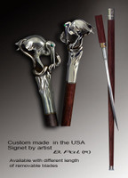 Custom walking cane Heron and snake is created and produced in the USA. Somebody using a walking stick might want not only physical support, but also some level of collectible or self-defense value. That is why a support walking canes can be done as a sword cane. In this case high quality knife will be built into the shaft as shown on the picture. Luxury walking sticks handle is cast from sterling silver mounted on rosewood shaft.