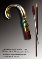 High end walking cane Grapes is created and produced in the USA. Somebody using a walking stick might want not only physical support, but also some level of collectible or self-defense value. That is why a support walking canes can be done as a sword cane. In this case high quality knife will be built into the shaft as shown on the picture. Handmade walking sticks handle is cast from sterling silver mounted on rosewood shaft. Custom made version can be finished with 24K Gold trim.