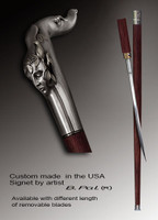 Luxury walking cane Echo is created and produced in the USA. Artistic walking sticks handle is cast from sterling silver and mounted on the rosewood shaft. Custom version can be finished with 24K Gold trim. Somebody using a walking stick might want not only physical support, but also some level of collectible or self-defense value. That is why a support walking canes can be done as a sword cane . In this case high quality knife will be built into the shaft as shown on the picture.