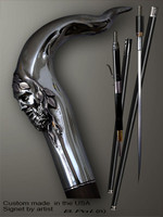 Designer walking cane Pan is created and produced in the USA. Unique walking sticks handle is cast from sterling silver and mounted on the ebony or rosewood shaft. Custom version can be finished with 24K Gold trim. Somebody using a walking stick might want not only physical support, but also some level of collectible or self-defense value. That is why a support walking canes can be done as a sword cane or cane gun. In this case high quality knife or air gun shooting mechanism will be built into the shaft as shown on the picture.