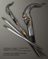 """Sterling silver with gold trim custom made walking stick Pan in sword cane version. Some regional laws prohibit the use of sword canes. That is why these sword canes are designed with removable blades. A sword canes tight opening telescopic mechanism provides the ability to load the cane as a regular support walking cane with or without the blade installed. The sword cane can be completed with 12"""" or 16"""" blade by customer request."""