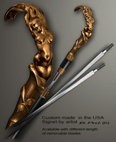 "Golden bronze walking stick Mermaid in sword cane version. Some regional laws prohibit the use of sword canes. That is why these sword canes are designed with removable blades. A sword canes tight opening telescopic mechanism provides the ability to load the cane as a regular support walking cane with or without the blade installed. The sword cane can be completed with 12"" or 16"" blade by customer request."