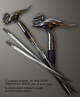 Sterling silver walking stick Swan in sword cane version. Some regional laws prohibit the use of sword canes. That is why these sword canes are designed with removable blades. A sword canes tight opening telescopic mechanism provides the ability to load the cane as a regular support walking cane with or without the blade installed.