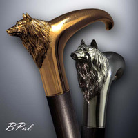 Designer walking cane Wolf design is created and produced in the USA. Handmade walking canes handles are cast from Sterling silver or Bronze and mounted on an exotic wood shaft. Somebody using a walking stick might want not only physical support, but also some level of decorative and aesthetic value. Nevertheless, while considering the aesthetics of the walking cane it is important to remember that the comfort, physical stability and security of the walking canes should also be given priority. Functional support walking canes can be requested as a beautiful anniversary gift.