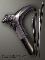Handmade walking cane Wolf is created and produced in the USA. Custom walking sticks handle is cast from sterling silver mounted on the ebony or rosewood shaft. Custom version can be finished with natural gems. Somebody using a walking stick might want not only physical support, but also some level of collectible or self-defense value. That is why a support walking canes can be done as a sword cane or cane gun. In this case high quality knife or air gun shooting mechanism will be built into the shaft as shown on the picture.