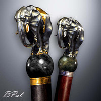 High end walking cane Elephant design is created and produced in the USA. The luxury walking canes version will be completed with 24K Gold plating trim and natural gems by customer request. Functional and decorative walking canes can be requested as a beautiful anniversary gift. Somebody using a walking stick might want not only physical support, but also some level of decorative and aesthetic value. Nevertheless, while considering the aesthetics of the walking cane it is important to remember that the comfort, physical stability and security of the walking canes should also be given priority.