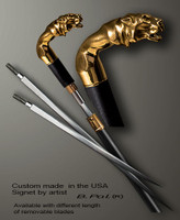 Bronze on the ebony walking stick Tiger in sword cane version. Some regional laws prohibit the use of sword canes. That is why these sword canes are designed with removable blades. A sword canes tight opening telescopic mechanism provides the ability to load the cane as a regular support walking cane with or without the blade installed.