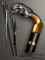 Unique walking cane Tiger is created and produced in the USA. Designer walking sticks handle is cast from sterling silver and mounted on the ebony shaft. Custom version can be finished with 24K Gold trim and natural gems. Somebody using a walking stick might want not only physical support, but also some level of collectible or self-defense value. That is why a support walking canes can be done as a sword cane or cane gun. In this case high quality knife or air gun shooting mechanism will be built into the shaft as shown on the picture.