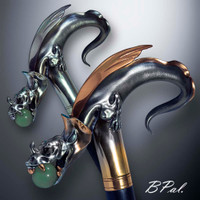 Exclusive walking stick Dragon with Natural Jade Ball in Jaws design is created and produced in the USA. The luxury walking canes version will be completed with 24K Gold plating trim and natural gems by customer request. Functional and decorative walking canes can be requested as a beautiful anniversary gift. Somebody using a walking stick might want not only physical support, but also some level of decorative and aesthetic value. Nevertheless, while considering the aesthetics of the walking cane it is important to remember that the comfort, physical stability and security of the walking canes should also be given priority.