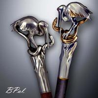 Exclusive walking stick Heron & Snake. Style # sh 134
