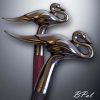 Artistic walking cane Swan. Style # sh 152