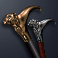 Handmade walking cane Bulldog design is created and produced in the USA. Custom walking canes will be made individually and signed at your request. Functional and decorative walking sticks can be requested as a beautiful anniversary gift. Somebody using a walking canes might want not only physical support, but also some level of decorative and aesthetic value that is why for many centuries walking canes have captured the attention of artists and jewelers. Nevertheless, while considering the aesthetics of the walking cane it is important to remember that the comfort, physical stability and security of the walking sticks should also be given priority.