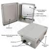 Altelix 10x8x6 Inch Fiberglass Weatherproof NEMA 4X Enclosure with Aluminum Equipment Mounting Plate and 120VAC Outlets