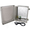 Altelix 10x8x6 Inch Fiberglass Weatherproof NEMA 4X Enclosure with Aluminum Equipment Mounting Plate, 120VAC Outlets and Pre-Wired Power Cord
